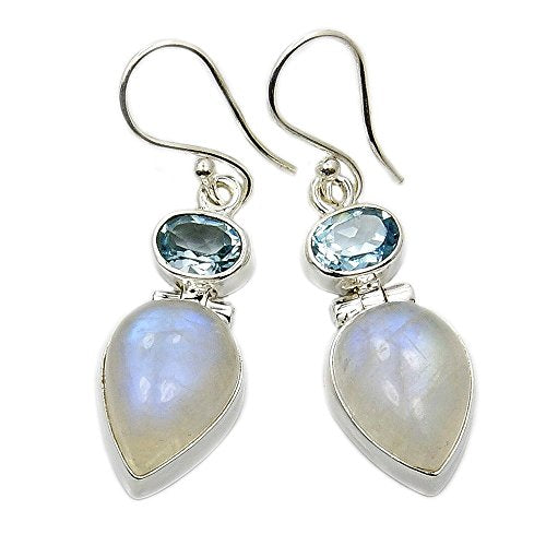 Sterling Silver Moonstone, Blue Topaz Dangle Earrings - The Silver Plaza