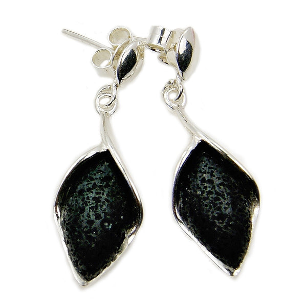 'Queen of the Night' Volcanic Lava Rock & Sterling Silver Dangle Earrings - The Silver Plaza