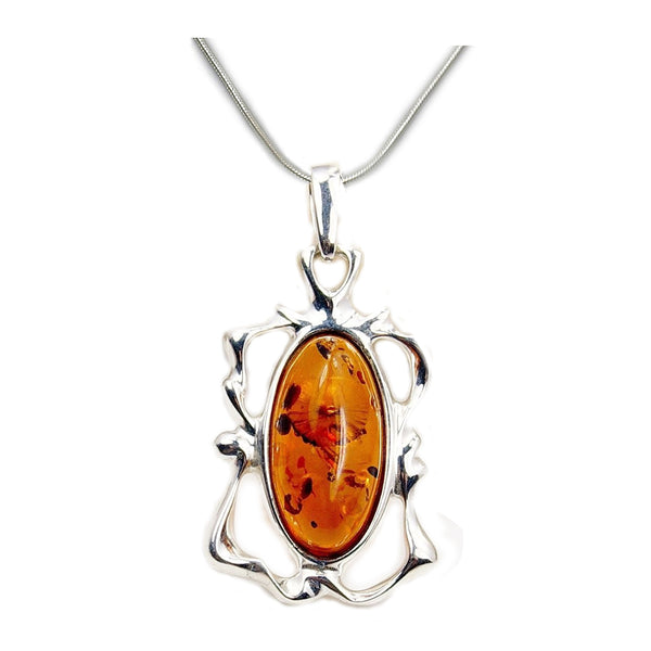 Sweet Temptation Sterling Silver Baltic Amber Necklace - The Silver Plaza