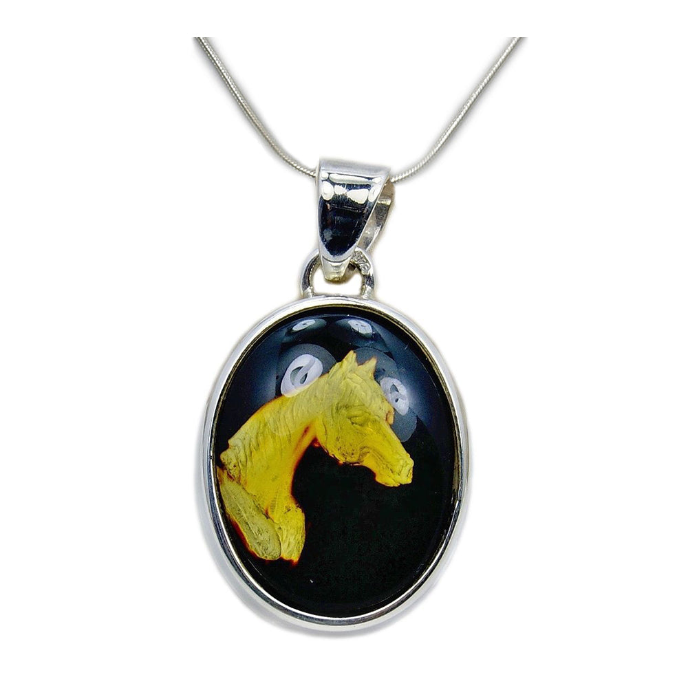 'Tamed Mustang' Sterling Silver Natural Baltic Amber Horse Cameo Necklace - The Silver Plaza