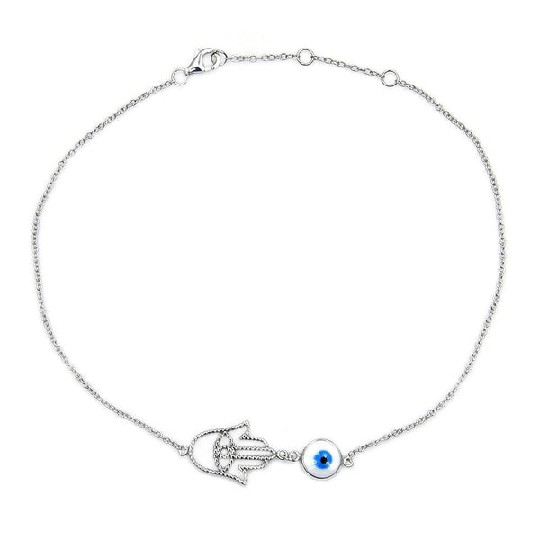 Sterling Silver Hamsa Hand, Evil Eye Anklet - The Silver Plaza