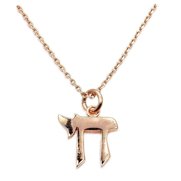 Chai (Life) Symbol Solid 925 Sterling Silver & Rose Gold Shiny Pendant Necklace - The Silver Plaza