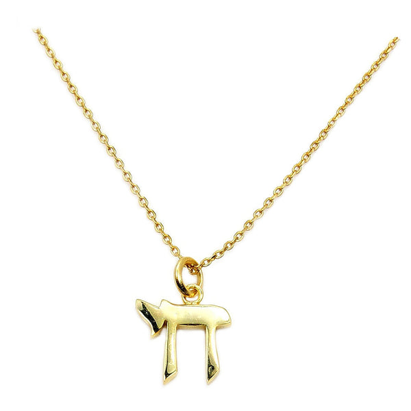 Chai (Life) Symbol Solid 925 Sterling Silver Gold Vermeil Shiny Pendant Necklace - The Silver Plaza