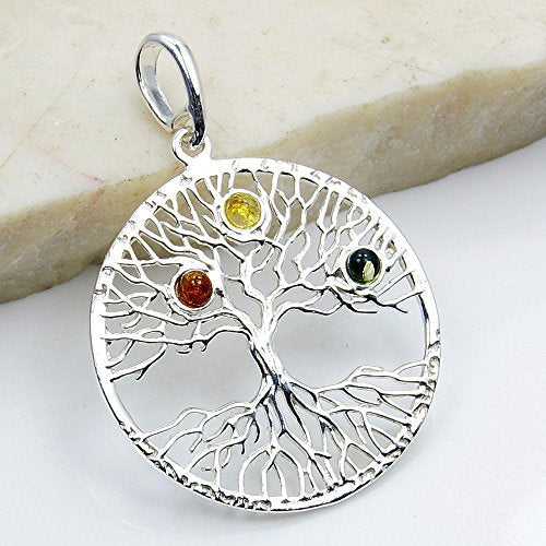 Tree of Life Natural Green, Honey Baltic Amber & 925 Sterling Silver Pendant