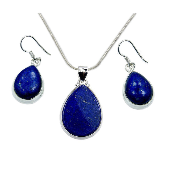 'Deepest Blue' Sterling Silver Lapis Lazuli Set Earrings & Necklace