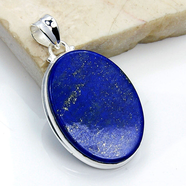 'Midnight Sky' Lapis Lazuli & 925 Sterling Silver Pendant - The Silver Plaza