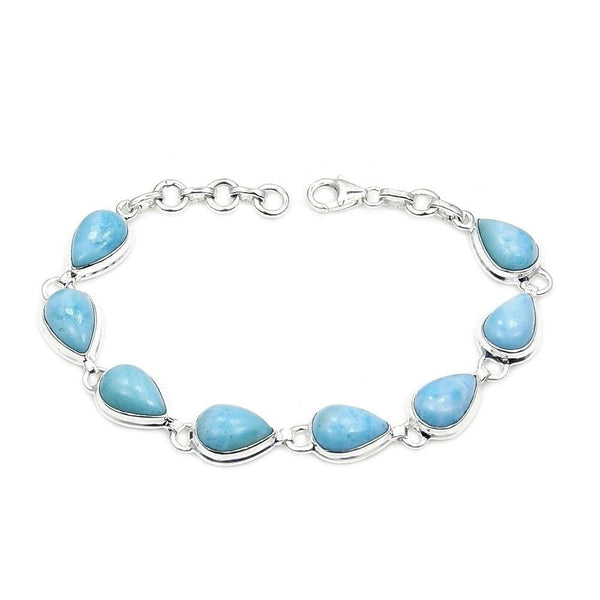 Natural Dominican Larimar & 925 Sterling Silver Bracelet , Jewelry