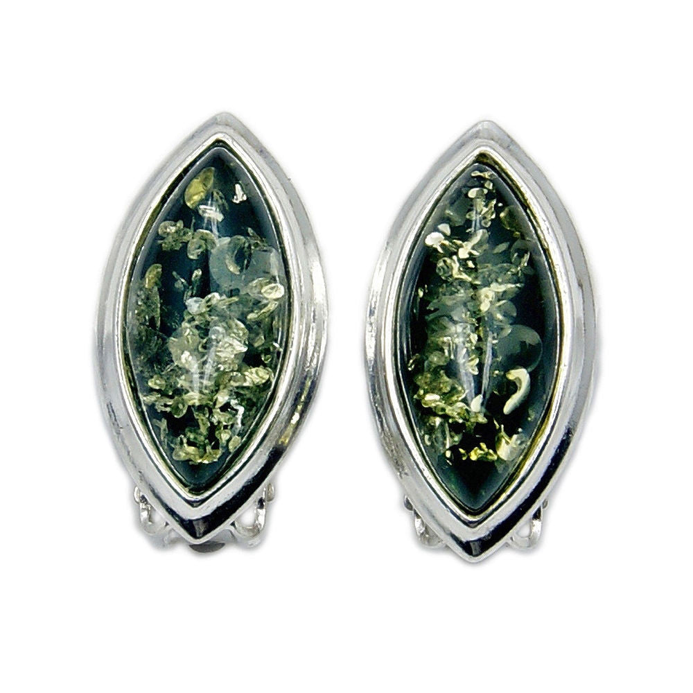 Green Amber & Sterling Silver Clip On Earrings - The Silver Plaza