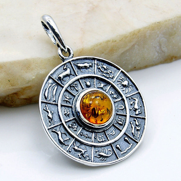Baltic Amber & Sterling Silver Zodiac Signs Pendant - The Silver Plaza