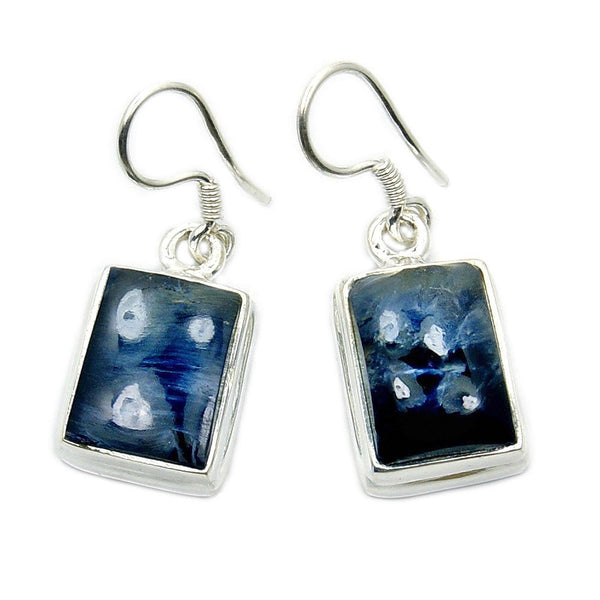 'Midnight Ocean' Sterling Silver Rare Pietersite Dangle Earrings