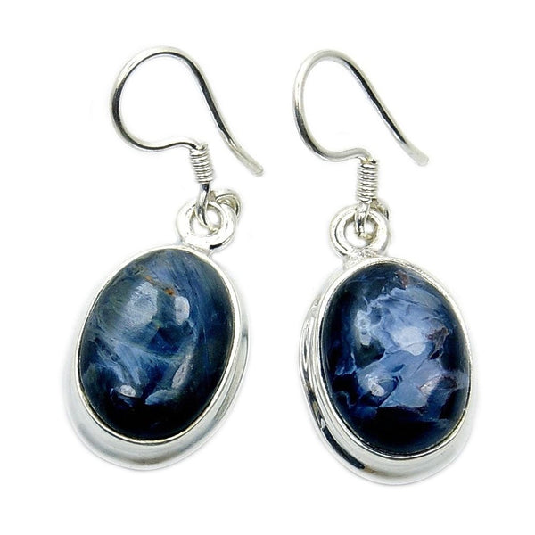 'Midnight Ocean' Sterling Silver Rare Pietersite Dangle Earrings - The Silver Plaza