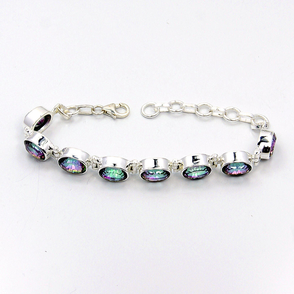 Gorgeous Mystic Topaz Sterling Silver Bracelet - The Silver Plaza
