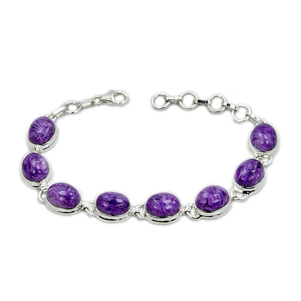 """Wild Purple"" Rare Charoite & 925 Sterling Silver Bracelet - The Silver Plaza"