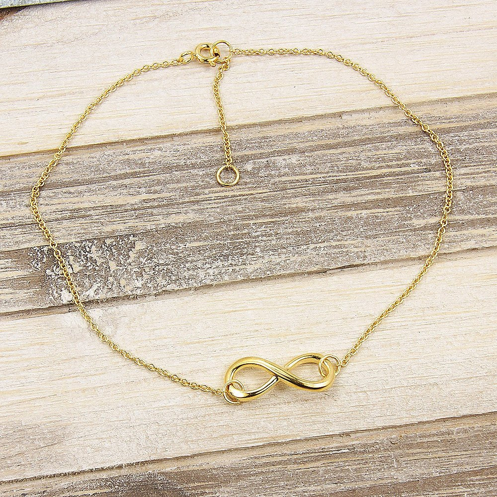 Gold Vermeil Sterling Silver Infinity Anklet - The Silver Plaza