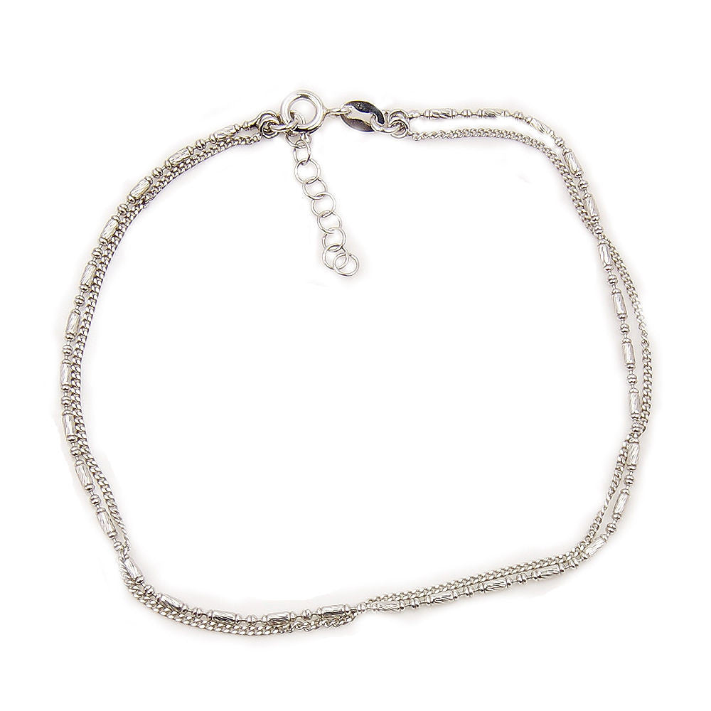 Solid Sterling Silver Double Chain Anklet - The Silver Plaza