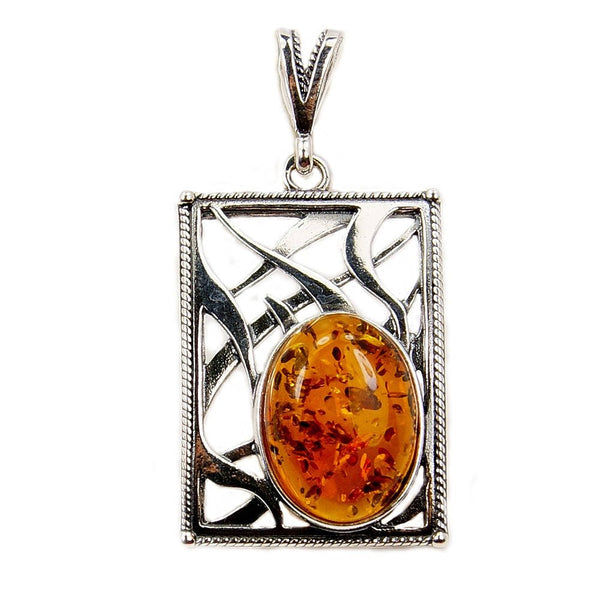 Stunning Sterling Silver Baltic Amber Pendant