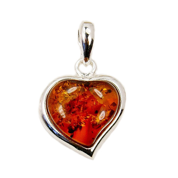 Sterling Silver Natural Baltic Amber Heart Pendant - The Silver Plaza