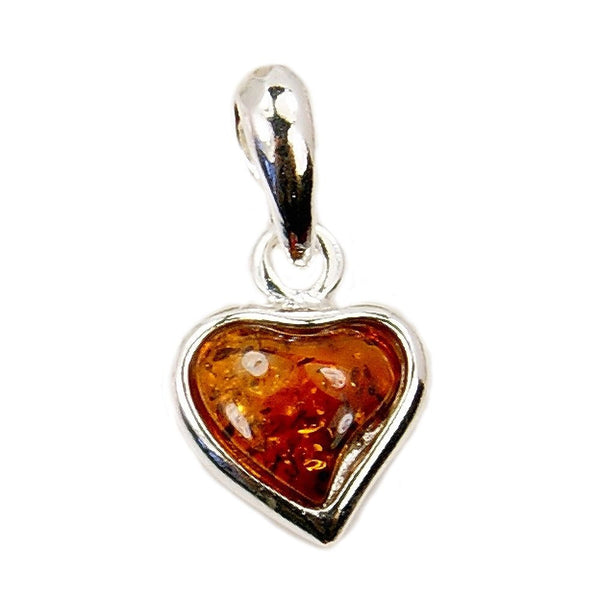 Cute Sterling Silver Natural Baltic Amber Heart Pendant