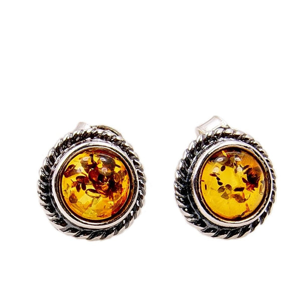 Elegant Sterling Silver Baltic Amber Stud Earrings - The Silver Plaza