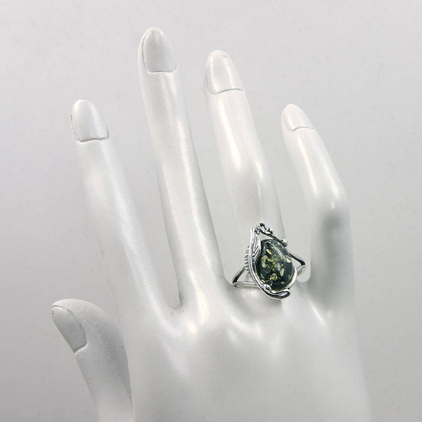 'Passion Leaf' Sterling Silver Moss Green Baltic Amber Ring