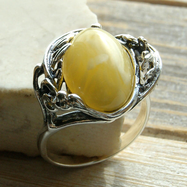 Sterling Silver Natural Butterscotch Baltic Amber Ring