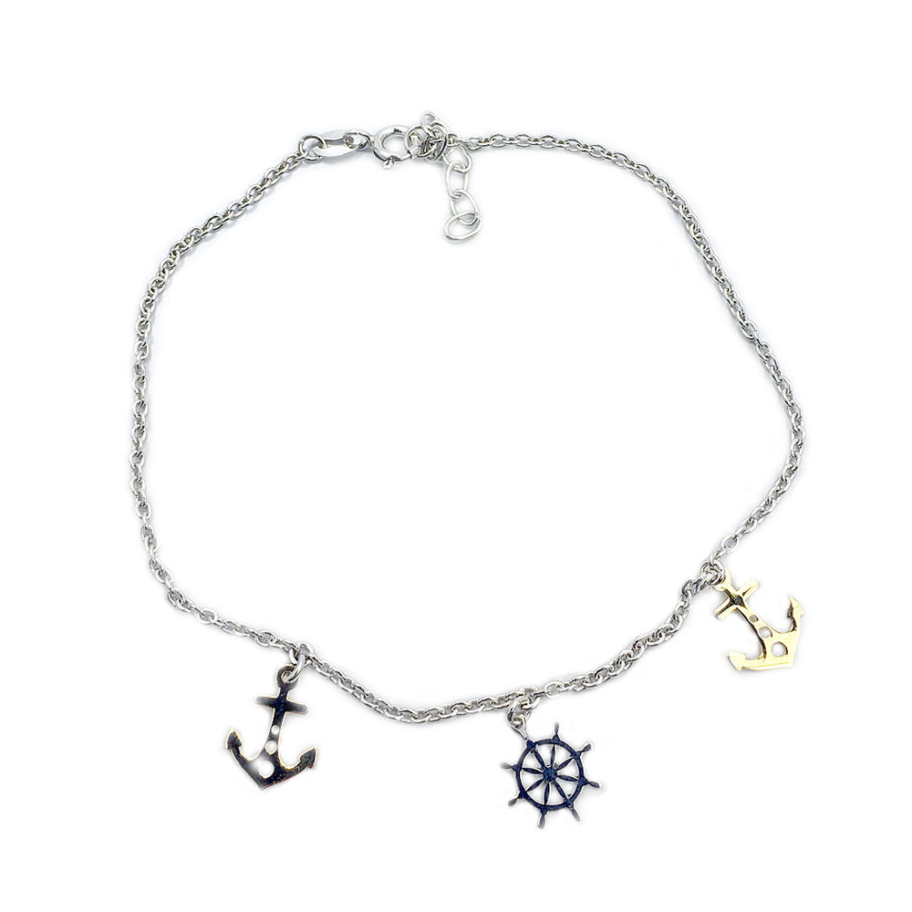Ship Wheel & Anchor Sterling Silver & Gold over Sterling Silver Adjustable Anklet - The Silver Plaza