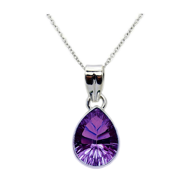 Amethyst & 925 Sterling Silver Pendant Necklace - The Silver Plaza