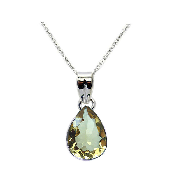 Sparkling Citrine & 925 Sterling Silver Pendant Necklace - The Silver Plaza