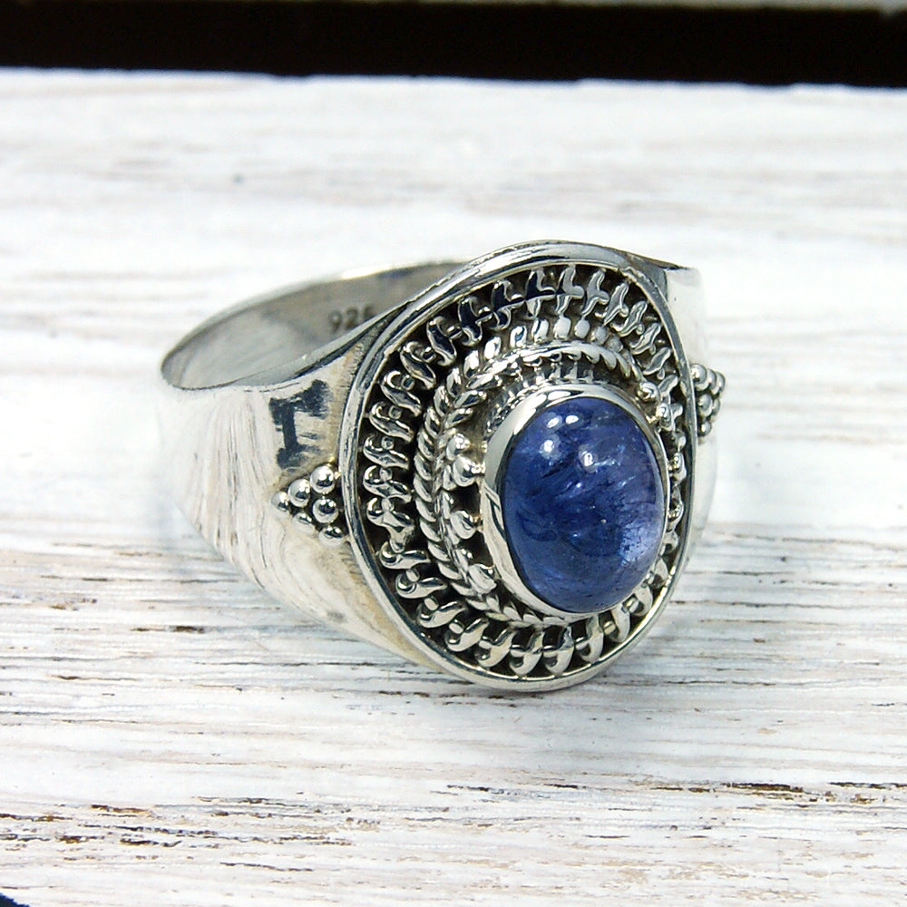 Sterling Silver Genuine Iolite Ring, Size 9