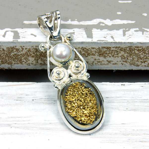 Golden Druzy, Pearl & .925 Sterling Silver Pendant , N28 - The Silver Plaza