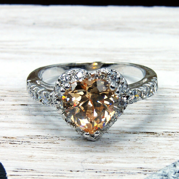 """Passionate Heart"" Honey Cubic Zirconia & Sterling Silver Ring Size 6.75 - The Silver Plaza"