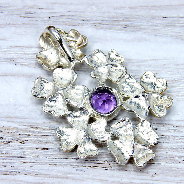 'Filigree Flowers' Amethyst & .925 Sterling Silver Pendant - The Silver Plaza
