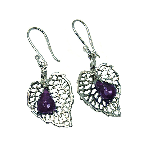 Amethyst Sterling Silver Dangle Earrings - The Silver Plaza