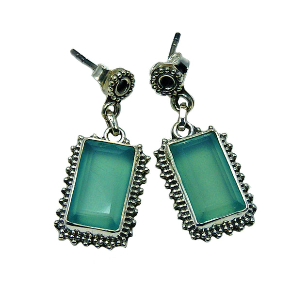 Blue Chalcedony & 925 Sterling Silver Dangle Earrings - The Silver Plaza