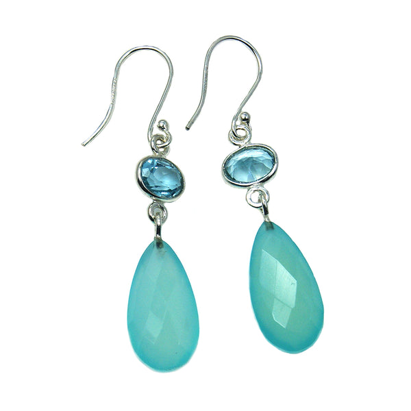 Blue Chalcedony, Blue Topaz Sterling Silver Dangle Earrings - The Silver Plaza