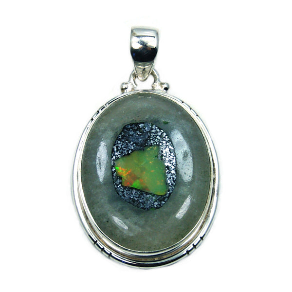 Ethiopian Opal & .925 Sterling Silver Pendant - The Silver Plaza