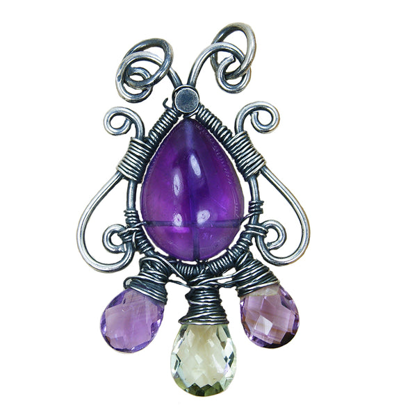 'Violet Flame' Amethyst & Sterling Silver Pendant - The Silver Plaza