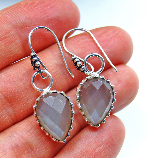 Cat's Eye & Sterling Silver Earrings - The Silver Plaza