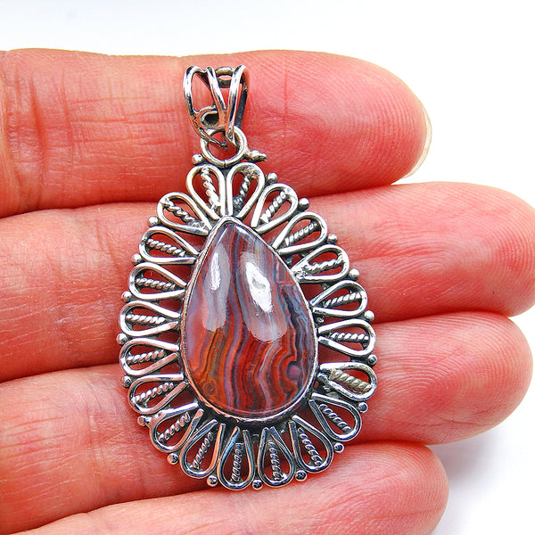 Botswana Lace Agate Pendant & Sterling Silver - The Silver Plaza