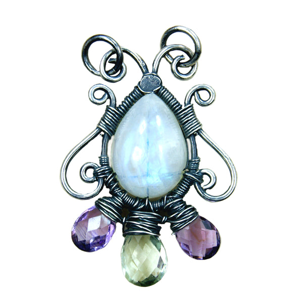Rainbow Moonstone, Amethyst & Oxidized Sterling Silver Pendant