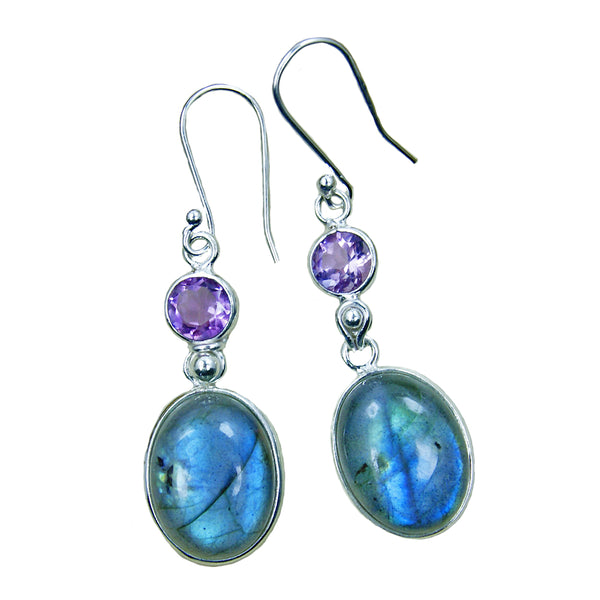 Shimmering Sterling Silver Labradorite, Amethyst Dangle Earrings