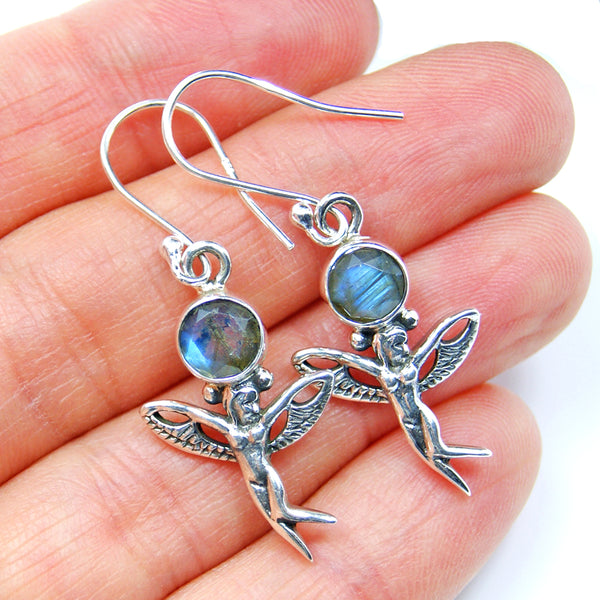Angel Earrings Labradorite Earrings & Sterling Silver - The Silver Plaza