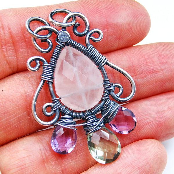 Rose Quartz, Amethyst & Oxidized Sterling Silver Pendant