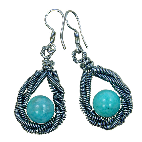 'Drama Queen' Amazonite & Oxidized Sterling Silver Earrings - The Silver Plaza