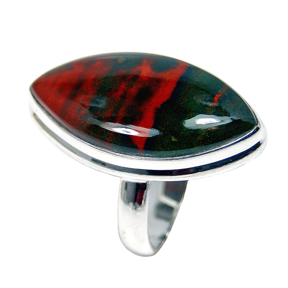 Bloodstone Sterling Silver Ring, Size 6.75 - The Silver Plaza