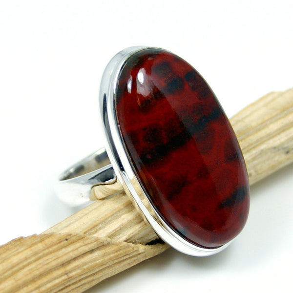 Large Bloodstone Sterling Silver Ring, Size 6.75