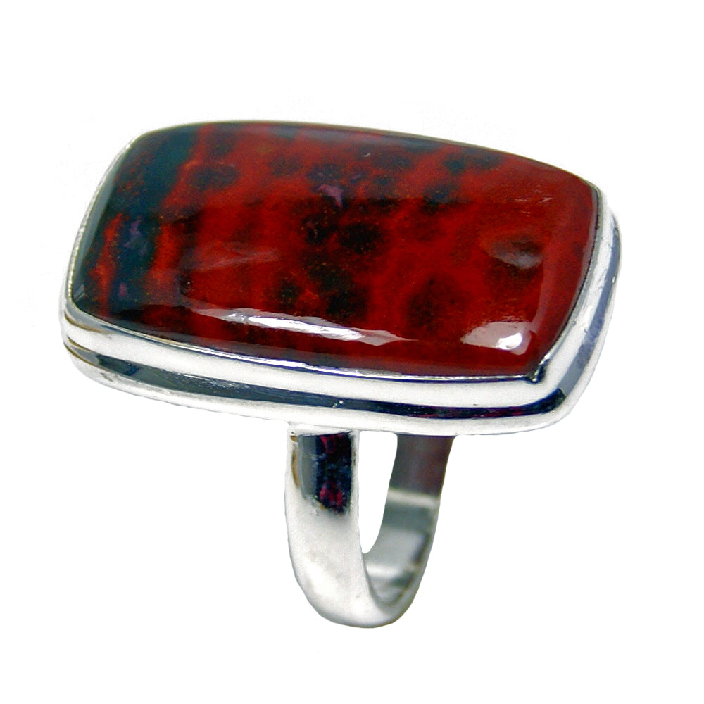 Large Bloodstone Sterling Silver Ring, Size 7.25