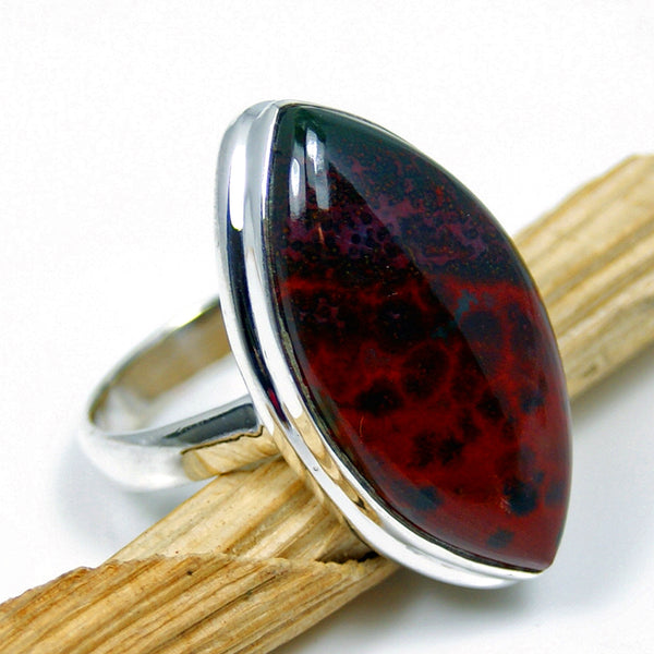 Large Bloodstone Sterling Silver Ring, Size 8.5