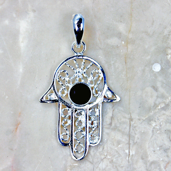 Volcanic Lava Protective Hamsa Hand of God Sterling Silver Pendant
