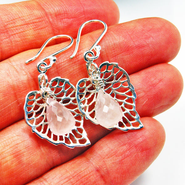Rose Quartz Sterling Silver Dangle Earrings